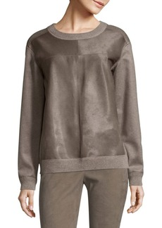 Lafayette 148 Iver Pullover Calf Hair & Cashmere Sweater