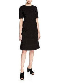 Lafayette 148 Jacintha Punto Milano Sheath Dress w/ Tonal Stitching