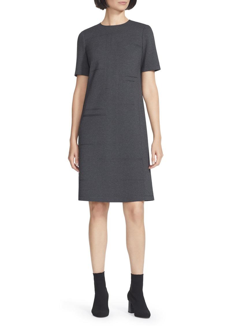 Lafayette 148 Jacintha Punto Milano Sheath Dress w/ Tonal Stitching