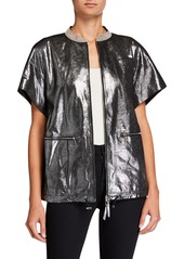 Lafayette 148 Jagger Stardust Glitter Suede Short-Sleeve Jacket