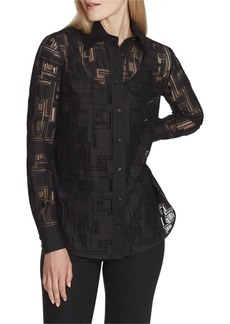 Lafayette 148 James Italian Linear Lace Button-Down Blouse