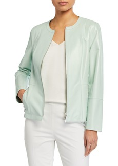Lafayette 148 Janella Zip-Front Lamb Leather Jacket