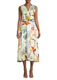Lafayette 148 Janelle Sleeveless Fiore Print Dress