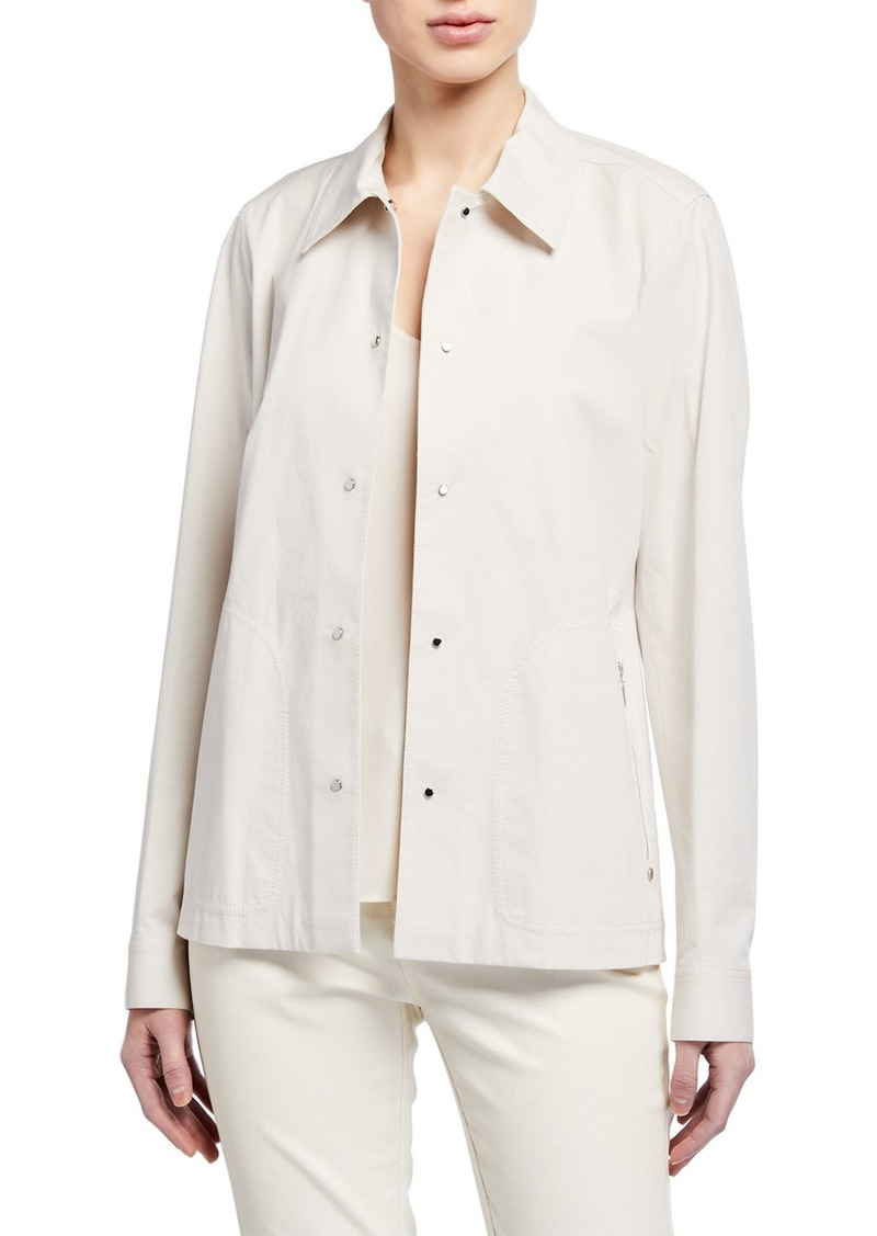 Lafayette 148 Jaren Button-Front Long-Sleeve Denim Jacket