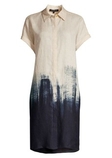 Lafayette 148 Jasarah Brushstroke Linen Shirtdress