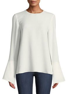 Lafayette 148 Jasmia Jewel-Neck Flared-Cuff Silk Georgette Blouse