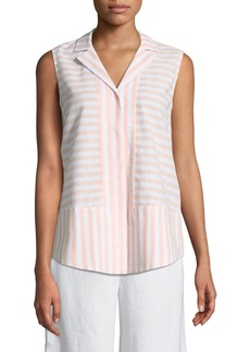 Lafayette 148 Jasper Sleeveless Striped Blouse