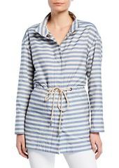 Lafayette 148 Jayna Vitality-Stripes Zip-Front Jacket