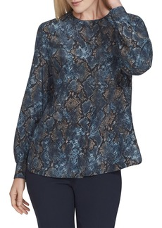Lafayette 148 Jenalee Sophisticated Snake-Print Long-Sleeve Silk Blouse