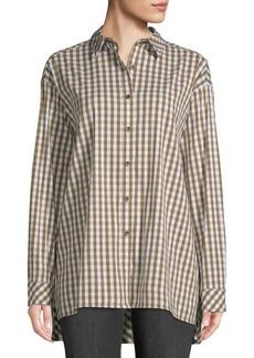 Lafayette 148 Jessie Boyfriend-Fit Gingham Shirt