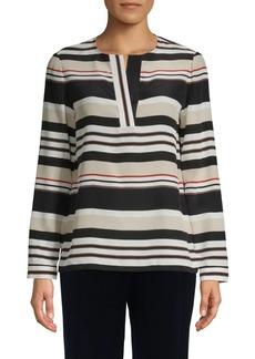 Lafayette 148 Joan Striped Silk Tunic
