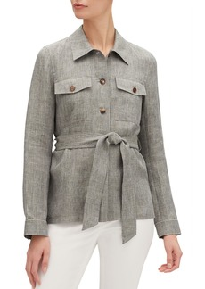 Lafayette 148 John Button-Front Belted Nexus Linen Jacket
