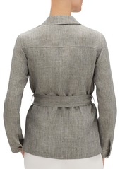 Lafayette 148 John Button-Front Belted Nexus Linen Jacket