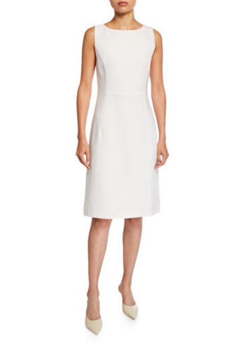 Lafayette 148 Jojo Bateau-Neck Sleeveless Nouveau Crepe Dress