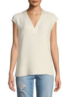 Lafayette 148 Jolet Cap-Sleeve Knit-Trimmed Silk Blouse