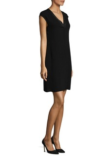 Lafayette 148 Jolet Knit-Trim Silk Dress