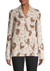 Lafayette 148 Jolisa Leo Print Linen Jacket