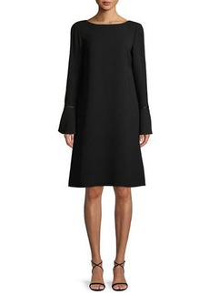 Lafayette 148 Jorie Long-Sleeve Crepe Shift Dress