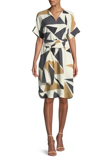 Lafayette 148 Jubilee Bold Triangles Knit Dress