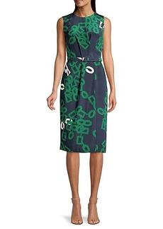 Lafayette 148 Jude Link-Print Belted Silk Dress