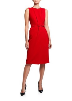 Lafayette 148 Jude Sleeveless Belted Finesse Crepe Dress