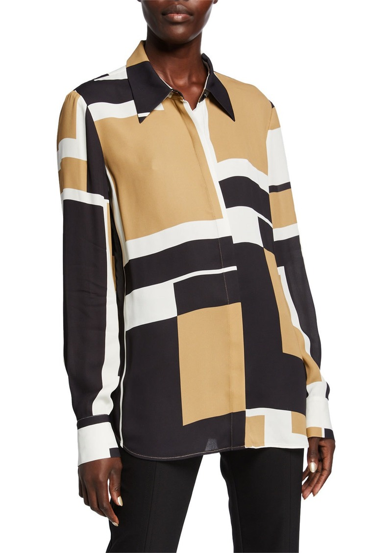 Lafayette 148 Julianne Graphic Block Button-Down Drape Cloth Blouse