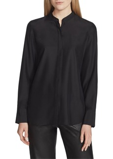 Lafayette 148 Julianne Matte Silk Blouse with Detachable Embellished Collar