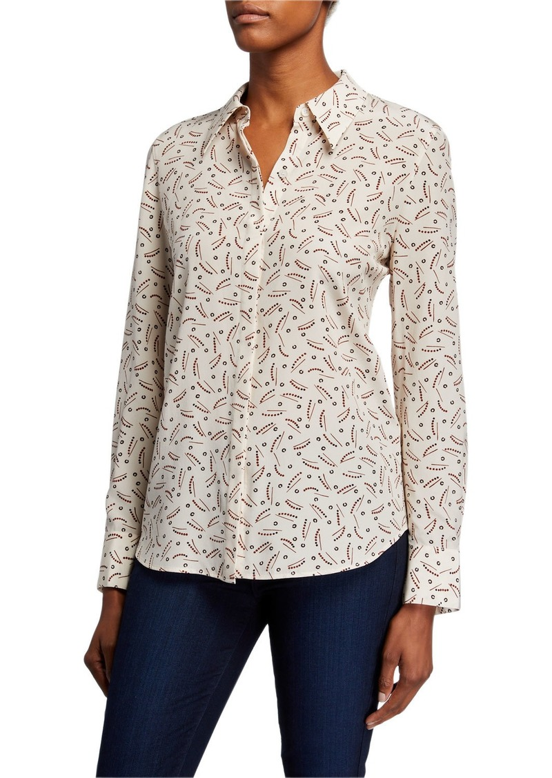 Lafayette 148 Julianne Successive Shapes Silk Button-Down Blouse