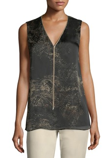 Lafayette 148 Julieta Sleeveless Paisley-Print Chain-Trimmed Silk Blouse
