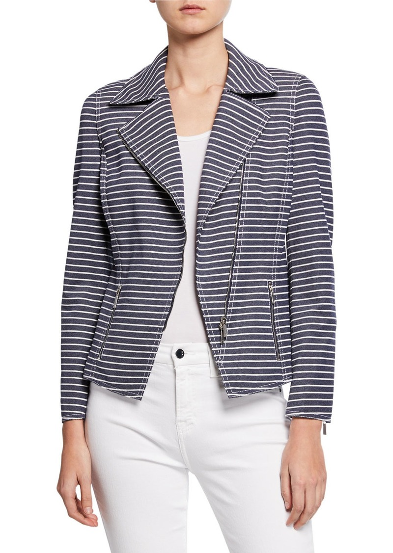 Lafayette 148 Julius Striped Denim Twill Jacket