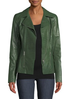 Lafayette 148 Julius Zip-Front Crocodile-Embossed Leather Jacket