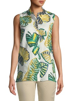Justin Sleeveless Palm-Print Linen Blouse