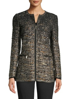 Lafayette 148 Karina Zip-Front Tweed Jacket w/ Tape Seams