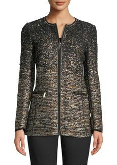 Lafayette 148 Karina Zip-Front Tweed Jacket w/ Tape Seams