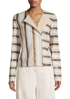 Lafayette 148 Kaydon Stripe Leather Jacket