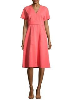 Lafayette 148 Kaylee Solid V-Neck Dress