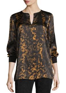 Lafayette 148 Kelsey Leopard-Print Split-Neck Blouse  Black/Multi
