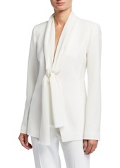 Lafayette 148 Kendria Crepe Jacket with Georgette Tie Combo