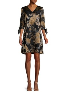 Lafayette 148 Kenna Printed V-Neck Dress