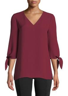 Lafayette 148 Kenna Tie-Sleeve Silk Blouse