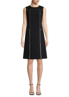 Lafayette 148 Kenny Contrast Stitch Shift Dress