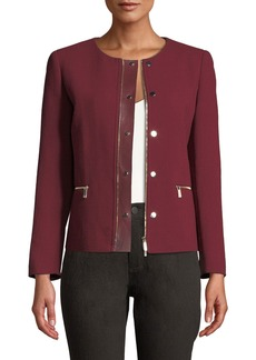 Lafayette 148 Kerrington Leather-Trim Jacket