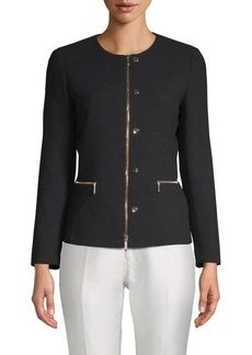 Lafayette 148 Kerrington Leather-Trim Wool Jacket