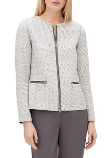 Lafayette 148 Kerrington Long-Sleeve Zip-Front Trestle Weave Jacket