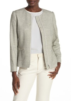 Lafayette 148 Kerrington Textured Woven Zip Front Jacket