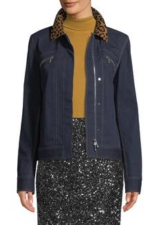 Lafayette 148 Kesha Denim Jacket w/ Leopard Collar