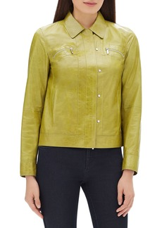 Lafayette 148 Kesha Zip-Front Lacquered Lambskin Leather Jacket