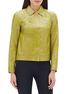 Lafayette 148 Kesha Zip-Front Lacquered Lambskin Leather Jacket