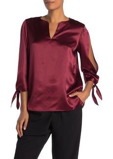 Lafayette 148 Khloe Split Tie Sleeve Silk Blouse