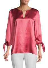 Lafayette 148 Khloe Tie-Sleeve Silk Blouse